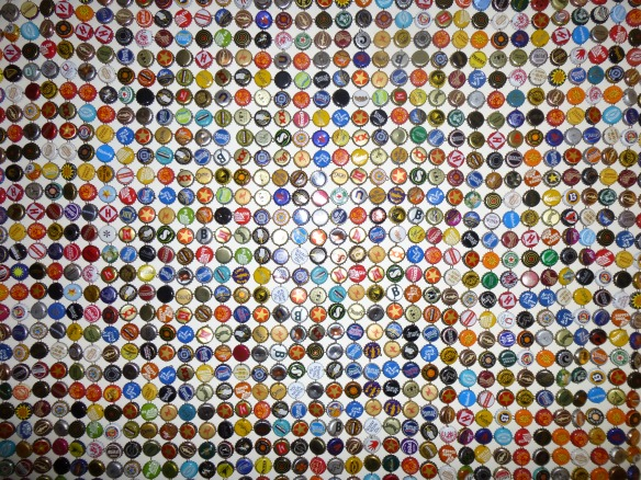 bottle cap tapestry detail