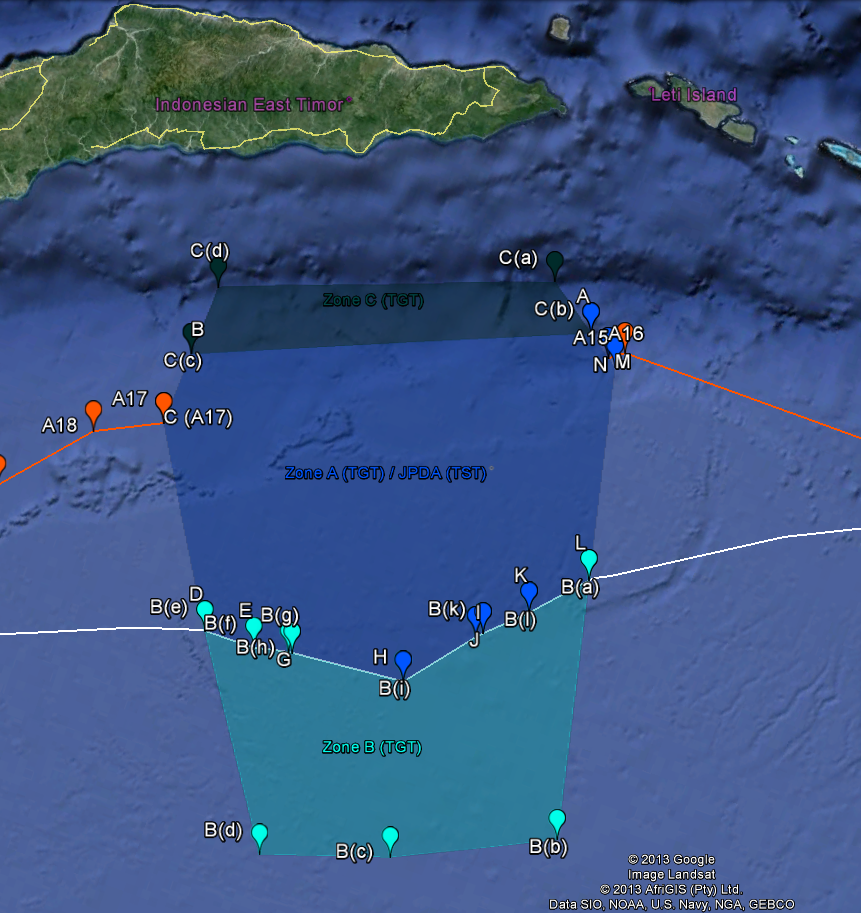 Google Earth Map for the Timor Sea Maritime Boundary Dispute