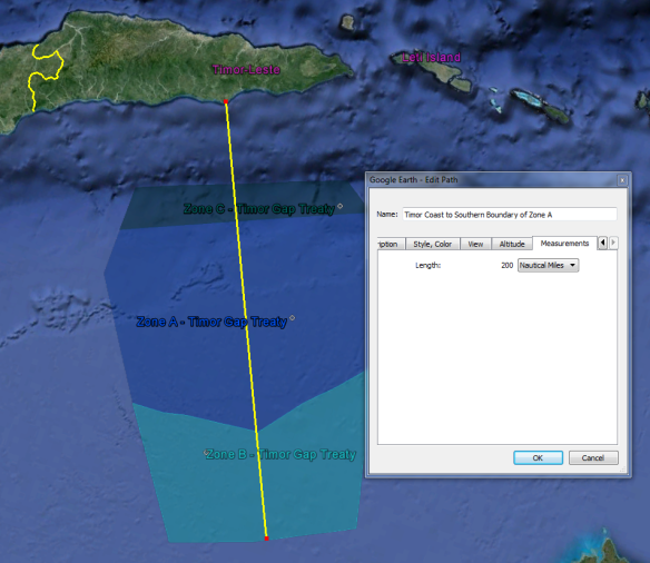 Southern boundary of the Zone (marked in yellow), drawn 200 nautical miles south of Timor's coast.