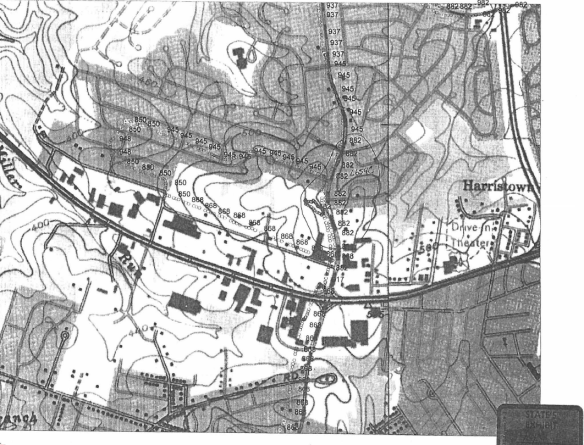 The map in State's Exhibit 44 depicts the area around Gilston Park. The road to the far right is I-695, the dashed road running north/south in the middle of the map is N. Rolling Road, and the road running east/west is Route 40.