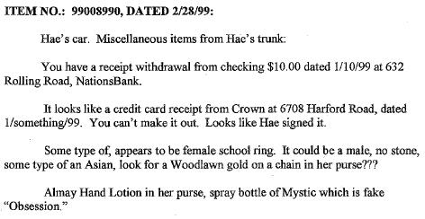 Crown Gas Station Receipt - Evidence List