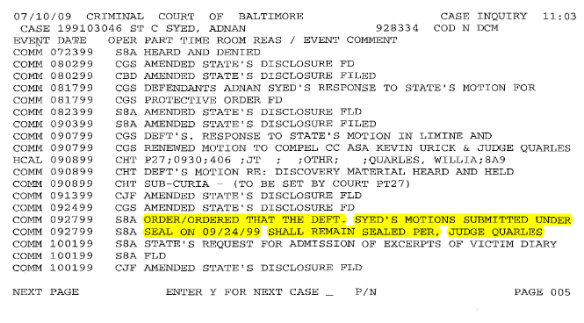 Docket Report - Ex Parte Motion Granted