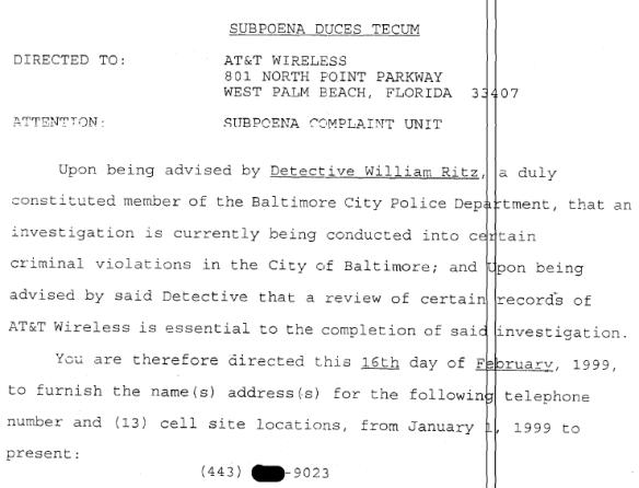 Grand Jury Subpoena - 2-16-99