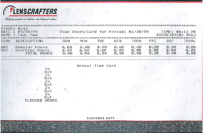 One observation on those LensCrafters timecards