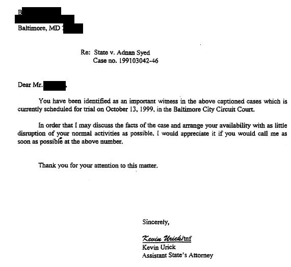 Mr. B - Urick Letter