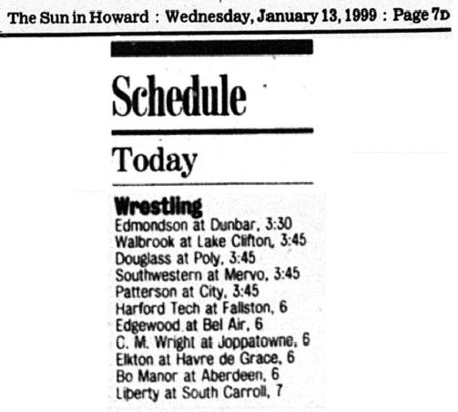 Sun - 1-13-99 - Wrestling Schedle