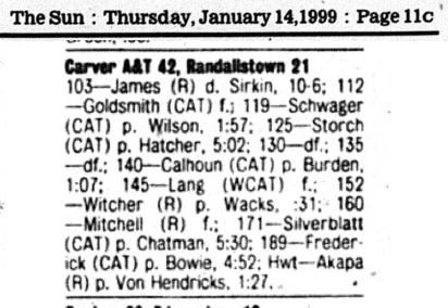Sun - 1-14-99 - Report on Randallstown - Carver Match