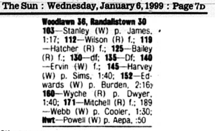 Sun - 1-6-99 - Report on Woodlawn - Randallstown Match